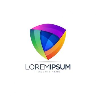 Modèle de vecteur de logo abstrait bouclier coloré
