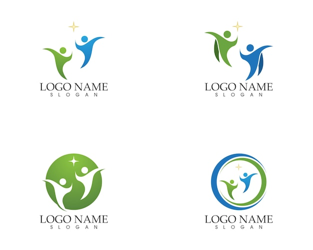 Modèle de vecteur de logo de gens de santé