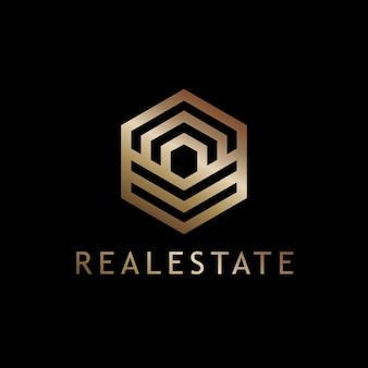 Modèle de vecteur logo immobilier géométrique