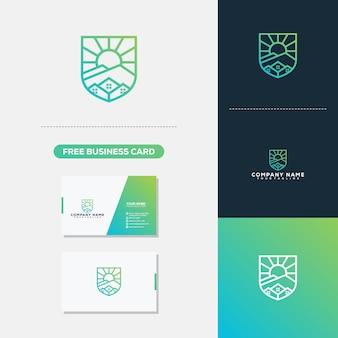 Modèle de vecteur de logo immobilier montagne