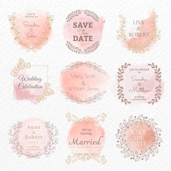 Modèle de vecteur de logo de mariage dans l'ensemble de style aquarelle floral