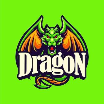 Modèle de vecteur de logo de mascotte de dragon