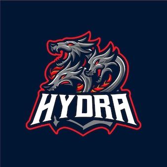 Modèle de vecteur de logo de mascotte hydra dragons