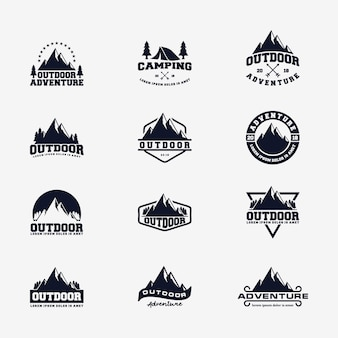Modèle de vecteur de logo de montagne aventure en plein air