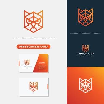 Modèle de vecteur logo owl head head monoline