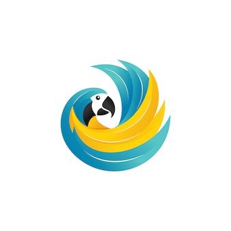 Modèle de vecteur de logo de perroquet