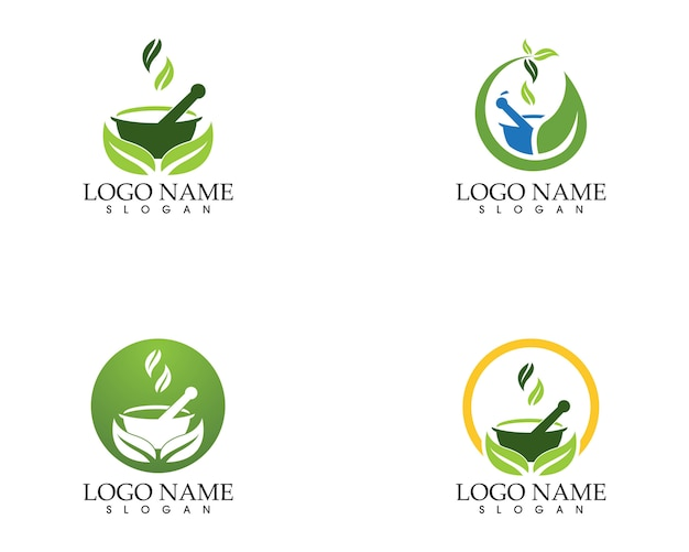 Modèle de vecteur de logo de pharmacie à base de plantes