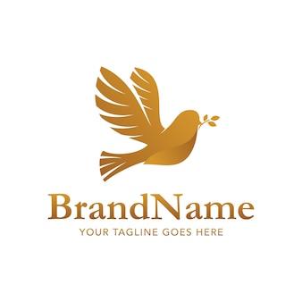 Modèle de vecteur logo pièce colombe or