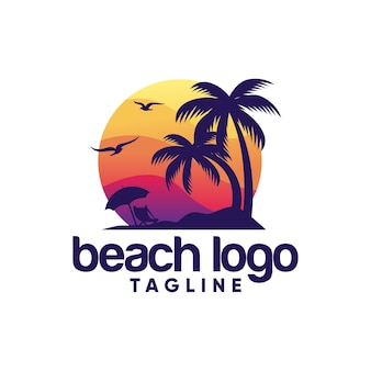 Modèle de vecteur de logo de plage