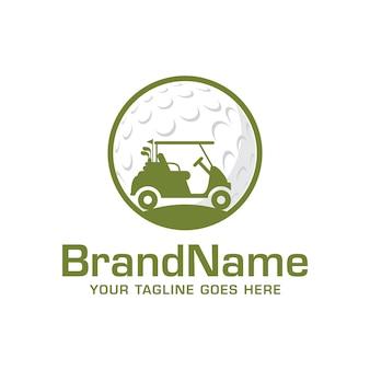 Modèle de vecteur de logo de voiture de golf
