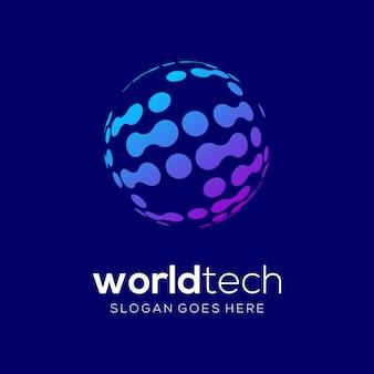 Modèle de vecteur de logo worldtech technology