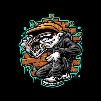Modèle de vecteur de mascotte mélomane hip hop