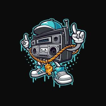 Modèle de vecteur de mascotte de musique hip hop