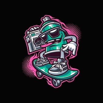Modèle de vecteur de mascotte de vaporisateur de skate hip hop