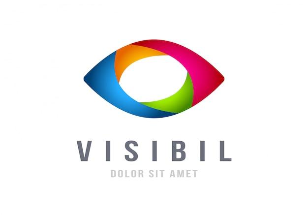 Modèle de vecteur oeil logo design coloré abstrait