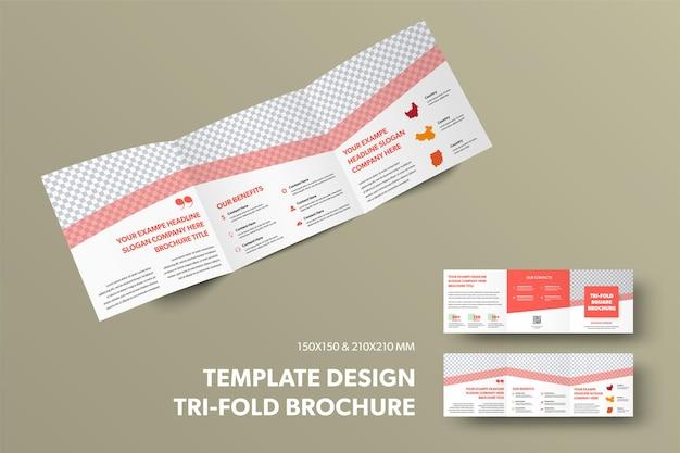 Modèle de vecteur ouvert à trois volets avec présentation de lignes rouges diagonales de conception et place pour la photo