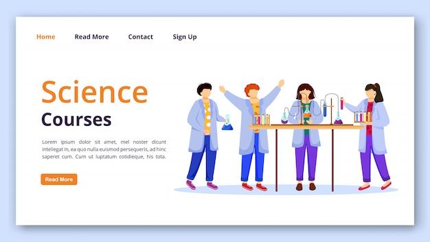 Modèle de vecteur de page de destination des cours de sciences expériences de chimie pour l'idée d'interface de site web pour enfants avec des illustrations plates. page d'accueil des leçons pratiques