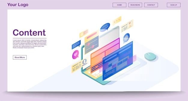 Modèle de vecteur de page web de contenu avec illustration isométrique