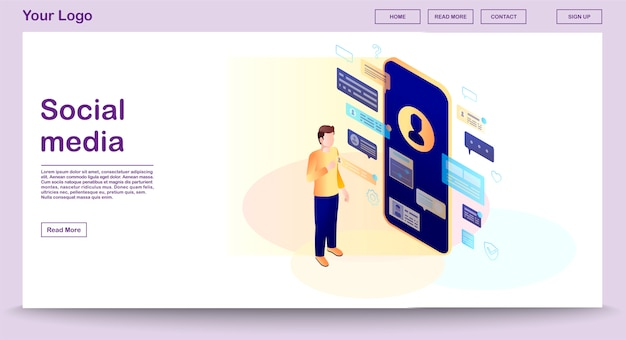 Modèle de vecteur de page web de médias sociaux avec illustration isométrique, page de destination