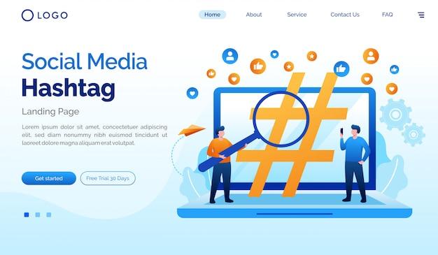 Modèle de vecteur plat illustration de page d'atterrissage de médias sociaux