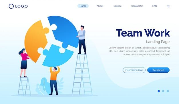 Modèle de vecteur plat illustration de page de destination de travail d'équipe