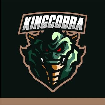 Modèle de vecteur de roi cobra mascotte logo gaming