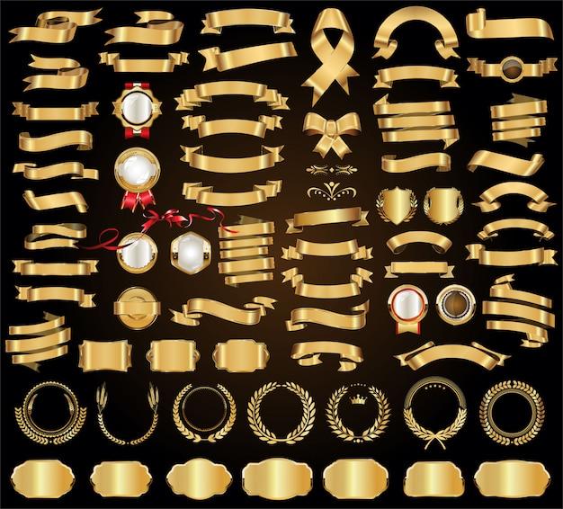Modèle de vecteur de rubans et bannières d'or