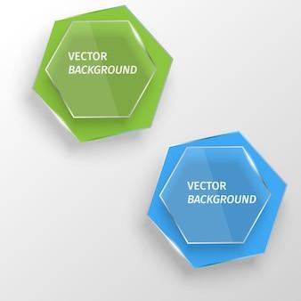 Modèle vector etiquettes en verre discours coloré abstrait