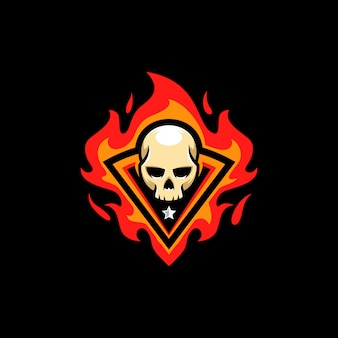 Modèle de vector illustration skull fire