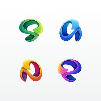Modèle vectoriel abstrait coloré logo set