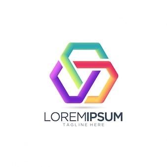 Modèle vectoriel abstrait logo coloré