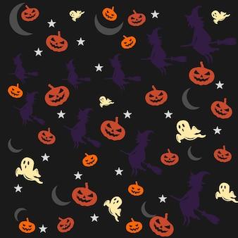 Modèle vectoriel avec des attributs de terrifiant, concept d'halloween sur fond sombre, impression