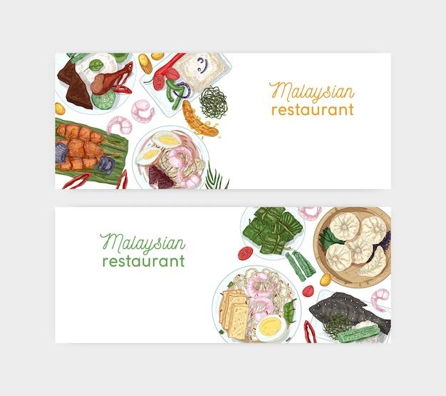 Modèle vectoriel de bannière dessiné main restaurant malaisien. plats orientaux traditionnels et apéritifs illustrations réalistes. contexte culinaire asiatique avec place pour le texte. disposition publicitaire de café.