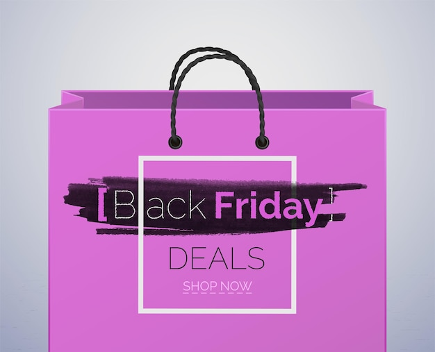 Modèle vectoriel de bannière de ventes de vendredi noir. sac shopping violet isolé sur fond gris. modèle d'affiche publicitaire de grande remise. faites de bonnes affaires, bon achat. grande promotion de vente saisonnière
