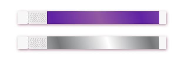 Modèle vectoriel de bracelet isolé sur fond pour l'accès à l'événement, la zone des fans d'identification ou l'entrée de la fête vip