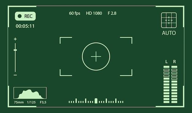 Modèle vectoriel de cadre de caméra de superposition de viseur militaire de caméra de nuit avec les coordonnées gps