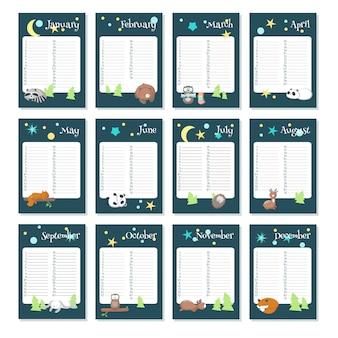 Modèle vectoriel de calendrier planificateur avec des animaux endormis
