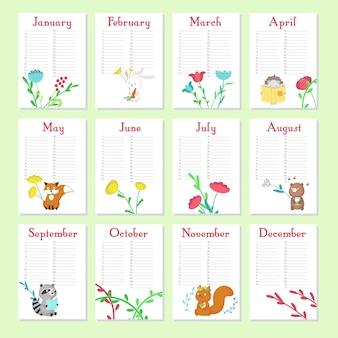 Modèle vectoriel de calendrier planificateur avec des animaux marrants
