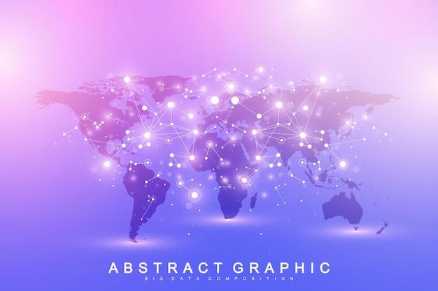 Modèle vectoriel carte du monde avec concept de réseautage technologique mondial. connexions réseau mondiales. concept d'intelligence artificielle et d'apprentissage automatique. communication d'arrière-plan big data.
