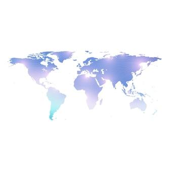 Modèle vectoriel carte du monde avec concept de réseautage technologique mondial. connexions réseau mondiales. visualisation des données numériques. lignes du plexus. communication d'arrière-plan big data. toile de fond perspective