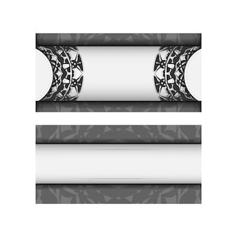 Modèle vectoriel de carte d'invitation avec place pour votre texte et ornements grecs. conception de carte postale couleurs blanches avec ornement de mandala noir.