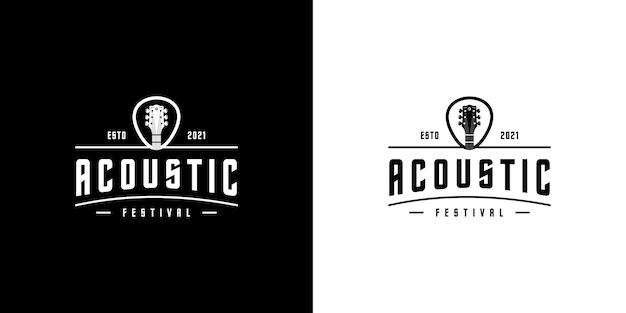 Modèle vectoriel de conception de logo de guitare acoustique