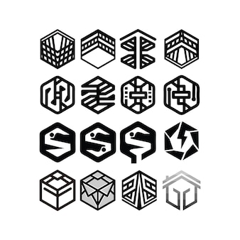 Modèle vectoriel de conception de logo hexagonal