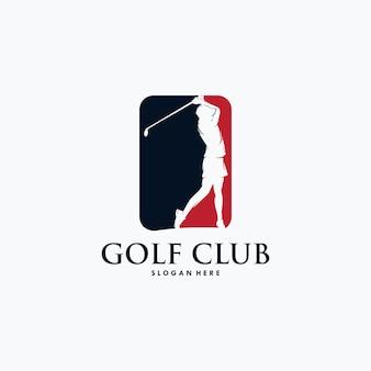 Modèle vectoriel de conception de logo de joueur de golf.