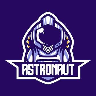 Modèle vectoriel de conception de logo de mascotte astronaute