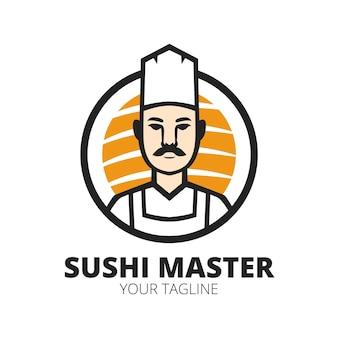Modèle vectoriel de conception de logo de mascotte de chef japonais