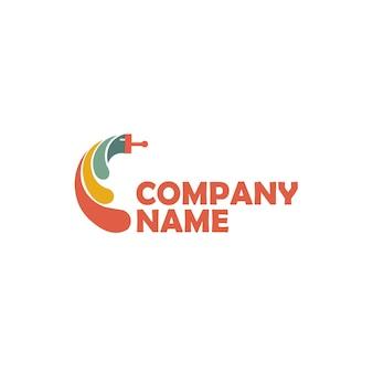 Modèle vectoriel de conception de logo de peinture création de logo de pinceau