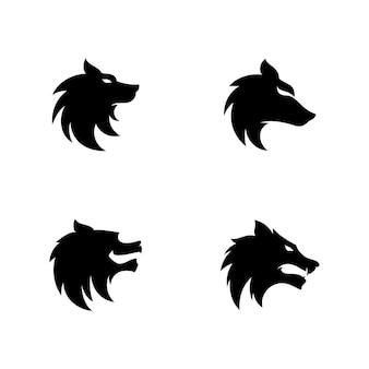 Modèle vectoriel de conception de logo de tête de loup