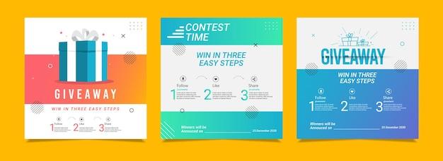 Modèle vectoriel de concours de médias sociaux