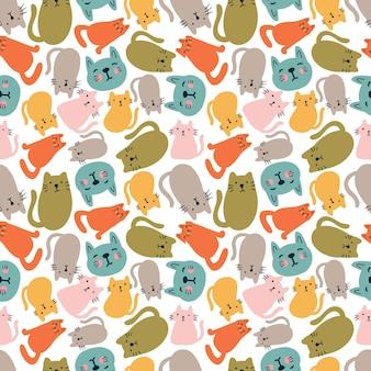 Modèle vectoriel continu coloré avec des animaux chats mignons sur le fond